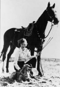 Wild Horse Annie with her dog and horse